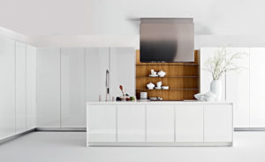 Contemporary kitchen / in wood / hidden / with sliding doors