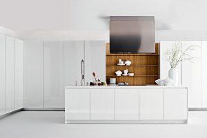 Contemporary kitchen / in wood / hidden / with sliding doors