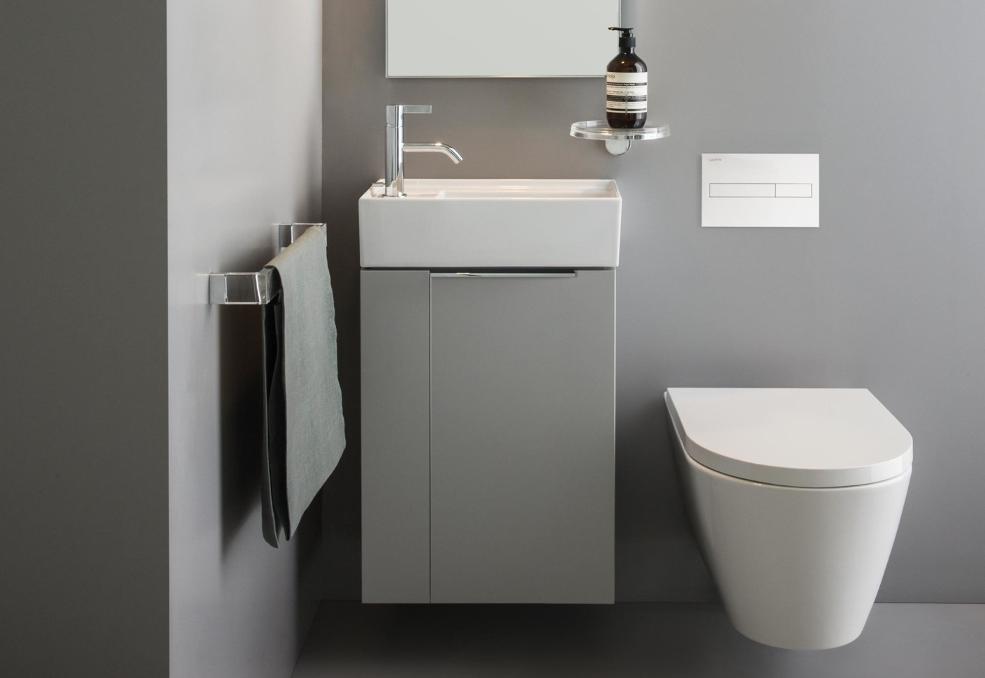 Kartell By Laufen.Wall Mount Toilet Bowl Ambient Showroom